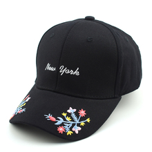 2017 New York Flowers Embroidered Cute Baseball Cap Women Adjustable Cotton Hat Caps For Womens Hot Casual Golf Caps Hat(China)