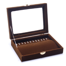 Necklace Box Wood Brown Velvet Necklaces Display Tray Accessories Rack Jewelry Box Necklace Storage Organizers Box Case Stand
