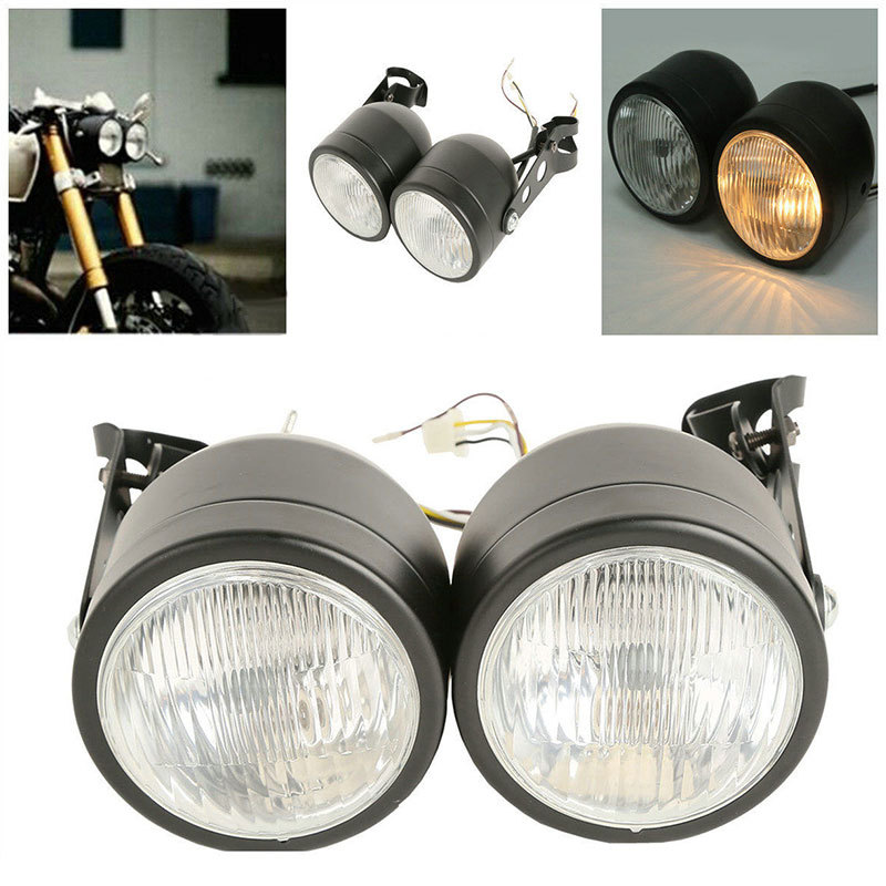 Dual Twin-Headlight Motorcycle Front-Lamp Accessorise Harley Kawasaki Yamaha 55/60w-Bulbs title=