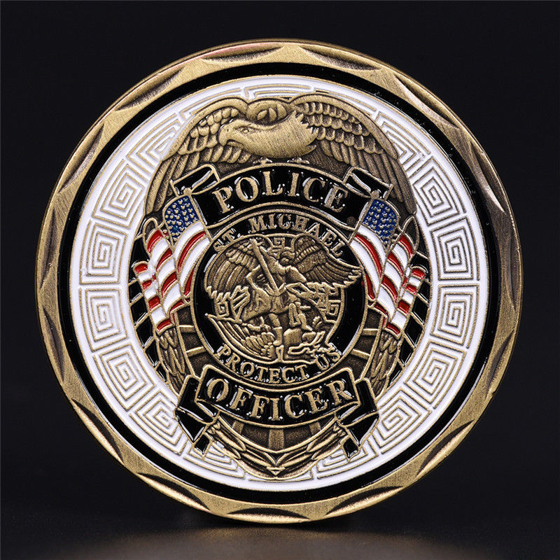 1pcs Michael Police Officer Badge Patron Saint Commemorative Challenge Coin Art Approx.4cm/1.57in 1pc
