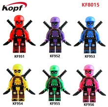 Single Sales Super Heroes Pink Red Purple Yellow Green Blue Orange Deadpool With Hat Building Blocks Children Gift Toys KF8015(China)