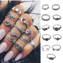 11PCS/Set Fashion Retro Silver Metal Boho Different Style Relief Women Men Rings Jewelry For Party Gift Ring Set