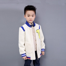 Stylish Baseball Wool Fur Bomber Jackets Baby Boy Clothes Genuine Fur V neck Stripe Coat Fashion Letter Patchwork Outerwear(China)