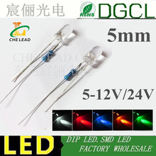 100pcs 5mm Bright LEDs DIODE Bulb with resistance Warm white/Red/Green/Blue/Yellow/White/Pink 12V/24V LED Lamp DIP LED LIGHTING(China)