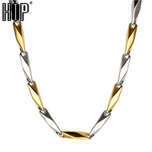 HIP Gold Color American Flag Men Pendant Necklace Trendy USA Symbol Stainless Steel Titanium Chain Necklaces Jewelry(China)