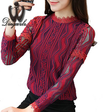 Buy Dingaozlz 2017 autumn lace shirt women clothing Korean Slim long-sleeved lace tops elegant hollow stitching casual blouse for $12.69 in AliExpress store