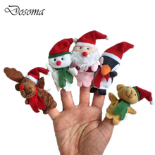 5pcs Christmas Finger Doll Cute Cartoon Character Modeling Finger Dolls Plush Toys Christmas Children Story Counseling Aids