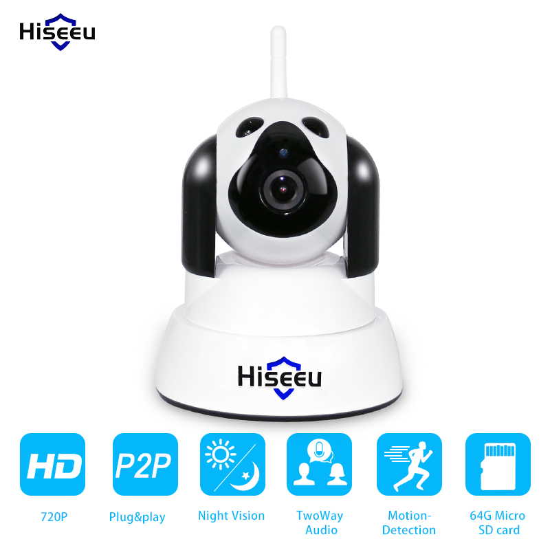 IP Camera WiFi Wireless Smart Dog Security Camera Micro SD Network Rotatable Defender Home Telecam HD Cctv IOS PC Hiseeu FH4<br>