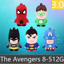FullCapacity Rubber Cute Catoon Superman Batman Mini USB 512GB Flash Drive 3.0 Gift Pen Drive Memory Disk Stick Key Card 64GB(China)