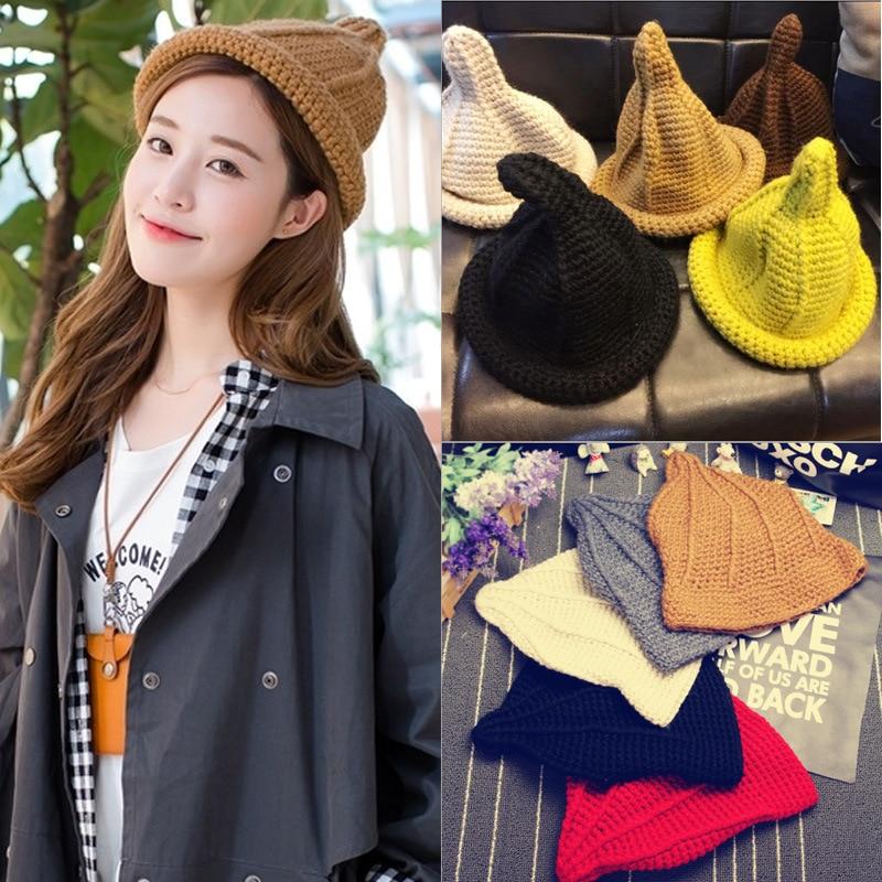 2016 Fall Winter Womens Hat Handmade pacifier Candy-colored brand cap Tip Knitting Wool Sorcerer Warm wool hat MZ-26#Îäåæäà è àêñåññóàðû<br><br><br>Aliexpress