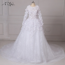 ADLN New Arrival Gorgeous Wedding Dresses Customized Size 2017 Long Sleeves Arabic Bridal Gowns with Chapel Train Zipper Back