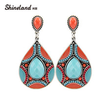 Brincos New Drop Earrings For Women Ethnic Vintage Silver Color Multicolor Bead Large Bohemia Dangle Earrings Statement Jewelry(China)