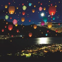 500pcs Multicolor Chinese Wishing Lantern Flying Hot Air Balloon Fire Sky Lanterns Decor For Birthday Wish Wedding Party