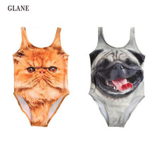 2017 Summer Baby Girls Princess Leopard Garfield Cat Dog Print Swimsuit Swimwear African Bathing Suit One-piece 3-10Y
