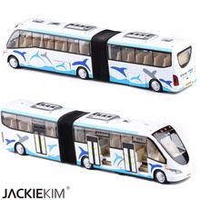 New Alloy Double Bus Model 1:43 Alloy High Simulation Educational Car Toys With Sound Pull Back Car For Kids Toys Free Shipping(China)