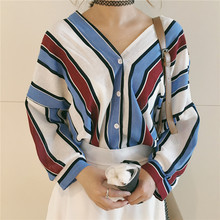 Summer Casual Women Shirts Three Quarter Sleeve Loose Striped V-Neck Korea Bats Blouse Shirt Blue Red Yellow And Green 1186