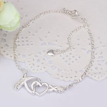New Arrival!!Wholesale Sterling 925 Silver Anklets,925 Silver Fashion Jewelry,hanging Zircon inlaid stone Anklets A002