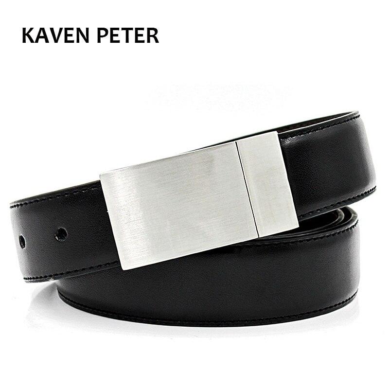 Classic genuine leather plaid belts for men casual belt 3.5cm width elegant belt