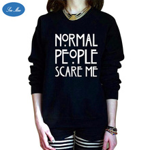 Sea mao Fashion Style Letter NORMAL PEOPLE SCARE ME Printing Long Sleeved Sweatshirt Popular in Europe and America Women Hoodies
