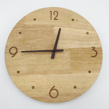 PINJEAS rustic clock wooden clock natural wall round clock 12 inch mute minimal wall clock design home decor bedroom