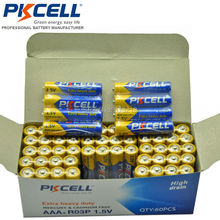 60 Pieces 1 Box PKCELL AAA R03P (1.5v) Zinc Carbon Batteries (also known as UM4, MN2400,3A) primary battery(China)