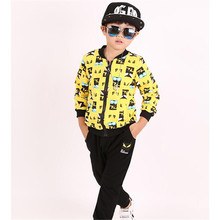 Fashion Boys Spring Autumn Children's Clothing Set Print Zipper Coat And Pant 2 Piece Sets Kids Personality Casual Sport Suits