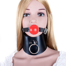 Buy Fetish bite ball mouth gag leather harness slave neck corset collar bdsm bondage collars gags sex games erotic toys adults