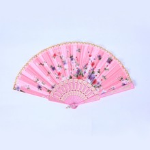 New Chinese Flower Floral Fabric Lace Folding Hand Fan Dancing Wedding Decor Fan