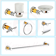 Free Shipping Luxury Chrome Bathroom Accessories Set Kit,Yellow Crystal Style,Bath Hardware Set,6pcs For Bathroom Toilet Product