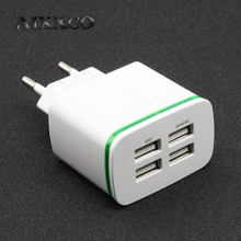 AIXXCO LED Light EU Plug 4 Ports Mobile Phone Adapter 4A Wall USB Charger For iPhone 6 7 iPad Samsung Charging Device