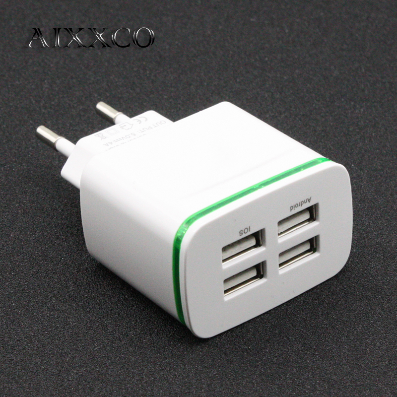 AIXXCO LED Light EU Plug 4 Ports Mobile Phone Adapter 4A Wall USB Charger For iPhone 6 7 iPad Samsung Charging Device(China)