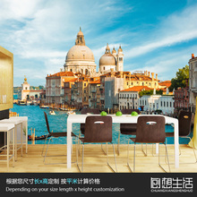 Mural Italy Venice European architectural landscape large murals 3D personality stereo TV background 3D wallpaper 3D wallpaper(China)