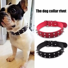 Pet Puppy Dog Collar Neck Adjustable Rivet Spiked Studded Durable PU Leather Neck Strap For Small Medium Dog Supplies