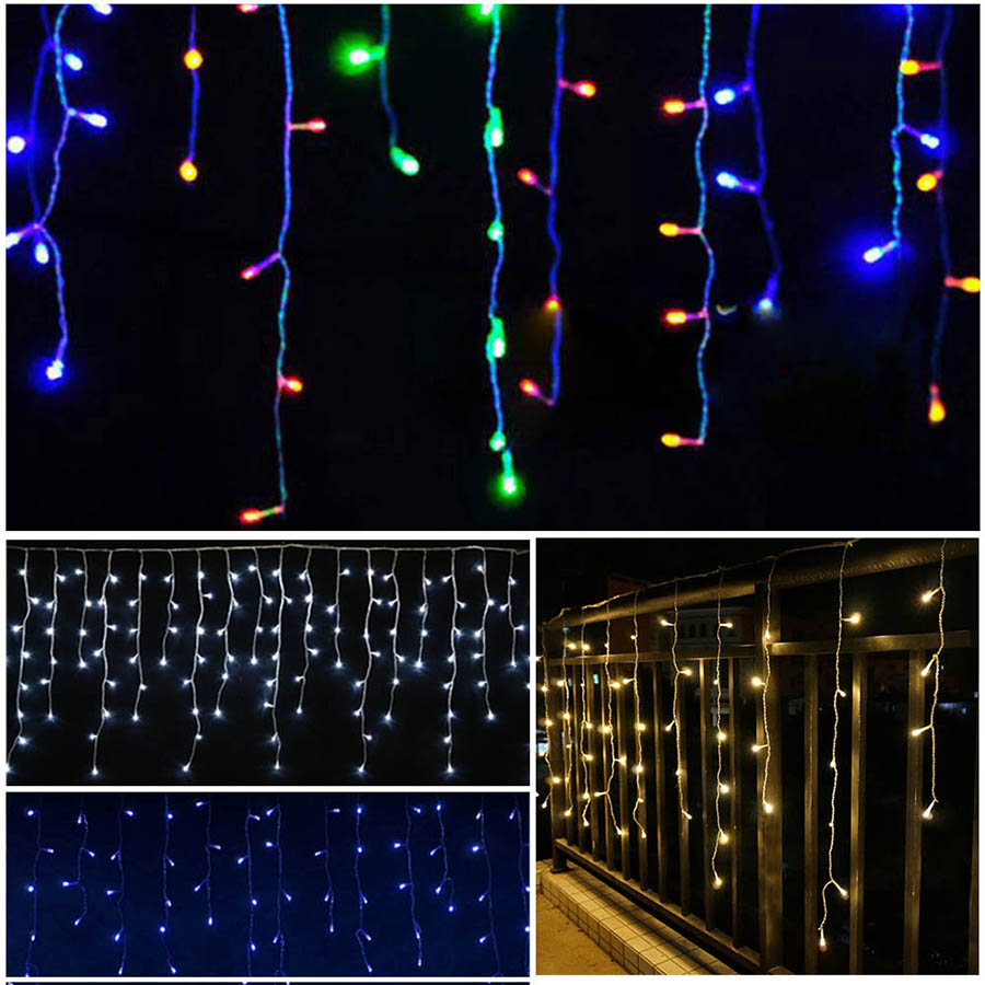 LED Curtain Icicle String Fairy Light 3-24M LED Christmas Garland Indoor Outdoor Party Garden Stage Decorative Lights 110V 220V (34)