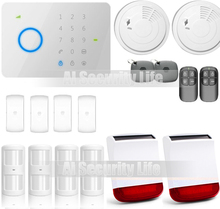 Etiger universal 315Mhz CHUANGO G5 GSM SMS Alarm Systems Security Home Wireless Strobe Siren Smoke Detector Match Panel