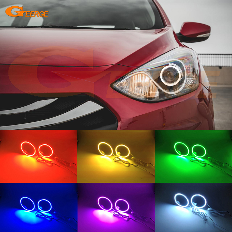 For HYUNDAI ELANTRA 2013 2014 2015 2016 GT HATCHBACK Excellent Multi-Color Ultra bright RGB LED Angel Eyes kit<br>