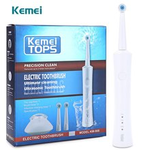 Kemei KM - 908 Reciprocating Rotating Waterproof Rechargeable Electric Toothbrush with 2 Heads Oral Hygiene Dental Care