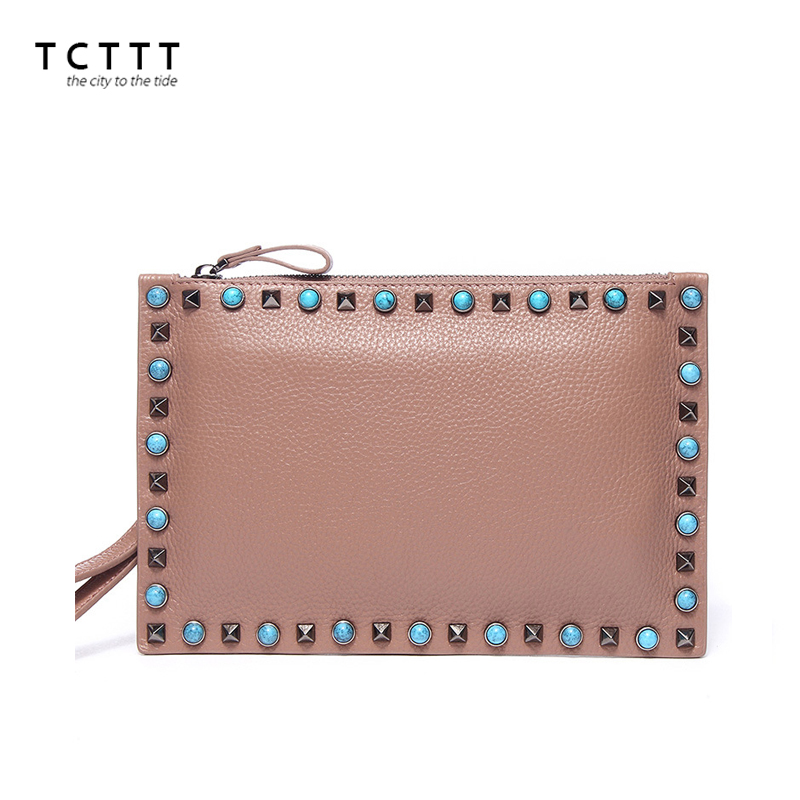 TCTTT famous brand Messenger bag Rivet style small genuine leather Clutch Tote shoulder Bags luxury designer womens Handbag<br>