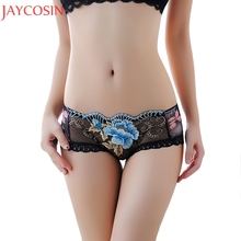 Buy Sexy Lingerie Transparent Embroidery Lace Briefs Panties Women Floral Printed Thongs G-string Underwear Knickers Underpants Ma7