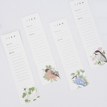 30 pcs/pack Flower with Bird Bookmark Paper Cartoon Animals Bookmark Promotional Gift Stationery dual Note Message