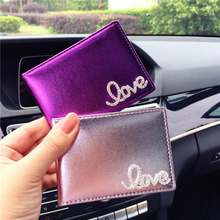 Rhinestone business card holder promotion shop for promotional lady driver license cover rhinestone love letter pu leather car driving documents id cards holder cases colourmoves