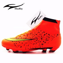 MAULTBY Men's Orange Black High Ankle AG Sole Outdoor Cleats Football Boots Shoes Soccer Cleats #SS3008O