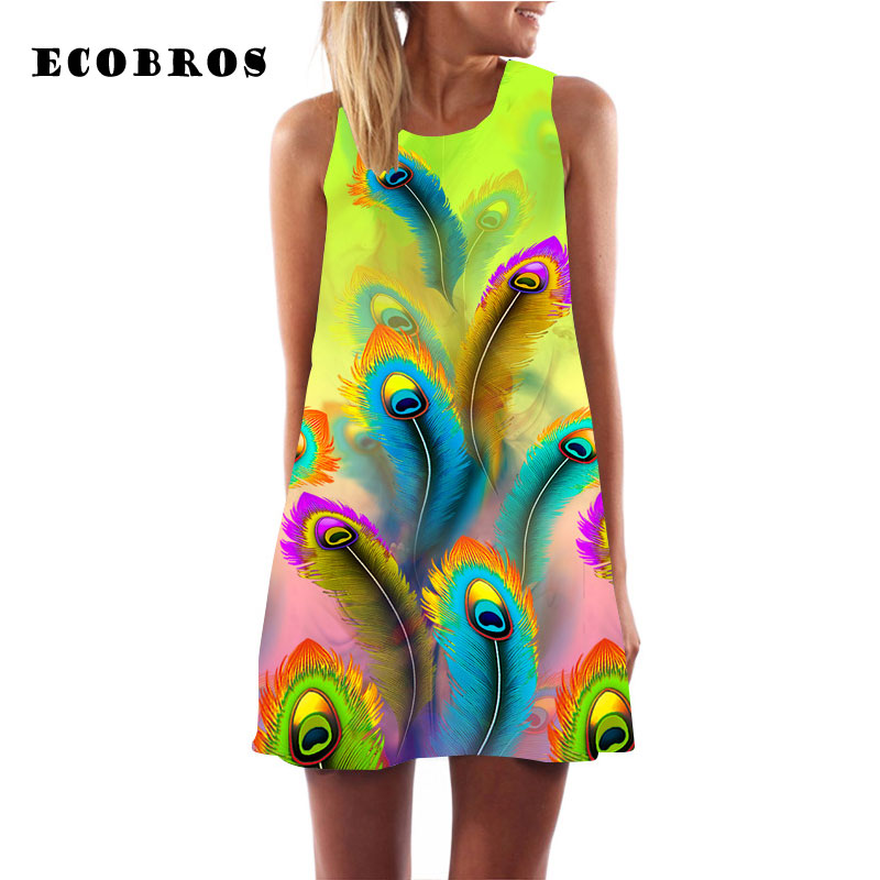 ECOBROS 2017 Summer Woman Chiffon Dress Casual sleeveless Loose feather print beach dresses plus size woman clothing short dress