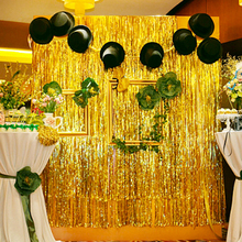 FENGRISE 2mx1m Gold Foil Fringe Curtain Tinsel String Shiny Shimmer Party Wedding Birthday Door Decoration Photo Booth Backdrop