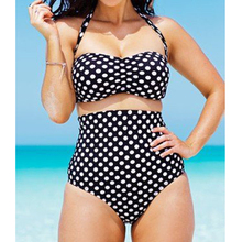 Buy Plus Size Bikini 2017 High Waist Swimsuit Push Swimwear Women Polka Dot Bathing Suit Sexy Biquini Brazilian Halter Bikini Set