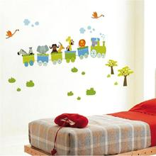 cute cartoon animals train cloud tree Nutty Fluffies children room decoration wall sticker environmental protection stickers