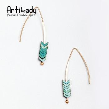 Artilady naturel pierre géométrie forme boucles d'oreilles or plaqué flèche conception boucles d'oreilles pour les femmes bijoux
