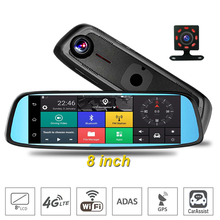2017 Newest 8 inch 4G Touch IPS Car DVR Camera Mirror GPS Bluetooth WIFI Android 5.1 Dual Lens FHD 1080p Video Recorder Dash Cam