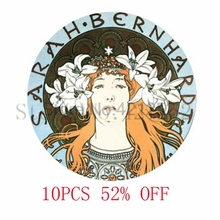 Sarah Bernhardt Mucha glass Dome Art picture Pendant Photo Pendant Jewelry necklace keyring bookmark cufflink  earring