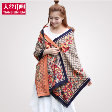 190*60cm 2016 Brand Poncho Women Knitted scarf cotton voile scarves plaid warm winter pashmina shawl floral printed